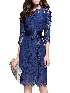 MissLook Women's Floral Lace Pierced Slim Bodycon Party Cocktail Midi Pencil Dress - Navy Blue 6