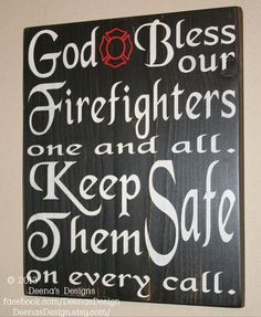 Firefighter Blessing Wall Decor, Firefighter Decor, Distressed Wall Decor, Custom Wood Sign, Firefighter, Typography Word Art on Etsy, $38.00
