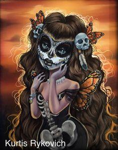 Another cool sugar skull lady ©Kurtis Rykovich Sugar Skull Artwork, Dibujos Pin Up, Sugar Skull Girl, Sugar Skulls, Candy Skulls, Day Of The Dead Art, Skull Wallpaper, Sugar Skull Tattoos, Chicano Art