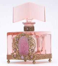 fancy perfume bottles | CZECH Perfume bottle in pink crystal with ... | Fancy Perfume Bottles