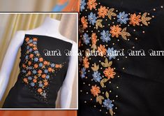 Embroidery designs for suits simple 18 ideas Embroidery On Kurtis, Kurti Embroidery Design, Embroidery Neck Designs, Hand Embroidery Flowers, Embroidery On Clothes, Hand Work Embroidery, Embroidery Fashion, Churidar Designs, Kurti Neck Designs