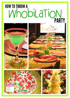 How to throw your very own Whobilation Party with Whoville Hair! Christmas Party Games For Adults, Grinch Christmas Decorations, Grinch Christmas Party, Grinch Party, Christmas Party Themes, Xmas Party, Family Christmas, Holiday Parties, Christmas Holidays