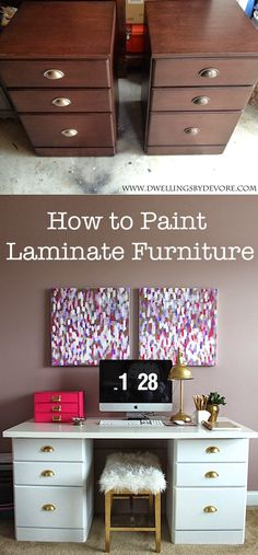 how to paint laminate furniture @kilzpaintandprimer                                                                                                                                                                                 More