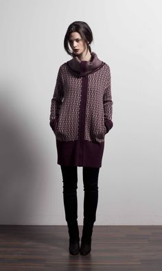 Aurora graphic sweater jacket in Bordeaux Graphic Sweaters, Sweater Jacket, Aurora, Houston, Weaving, Fall Winter, High Neck Dress, Bordeaux, Jackets
