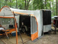 camping with a cargo trailer-screen tent addition-just an image-plus dozens of other vintage trailers Enclosed Trailer Camper Conversion, Enclosed Cargo Trailers, Cargo Trailer Conversion, Diy Camper, Truck Camper, Camper Trailers, Camper Van, Camper Ideas, Camper Life