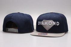 Mens Diamond Supply Co Solid Grey Diamond Embroidery Logo Snapback Cap - Navy / Grey