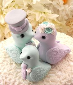 Family Love Birds Wedding Cake Topper Mint Green by LavaGifts