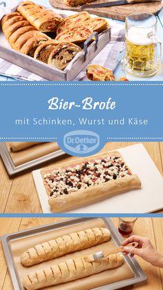 Bier-Brote mit zwei Füllungen: Snack mit Schinken/Wurst und Käse, zu jeder Party ein Genuss