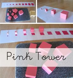 Montessori - Pink tower Maria Montessori, Montessori Homeschool, Montessori Classroom, Montessori Toddler, Montessori Activities, Toddler Activities, Math Patterns, Learning Numbers, Matching Cards