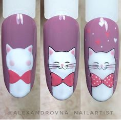 Cat Nail Art, Animal Nail Art, Cat Nails, Cartoon Nail Designs, Nail Art Designs, Unicorn Nails Designs, Dream Catcher Nails, Cotton Candy Nails, Dream Nails