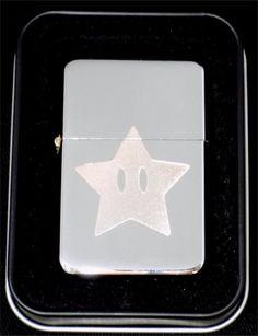 MARIO STAR Game Fun New Engraved Chrome Cigarette Favor Lighter Gift LEN-0023