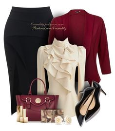 """""""High Neck Ruffle Blouse WorkWear"""" by casuality ❤ liked on Polyvore featuring Maticevski, Hill & Friends, Coach, Burberry, Bling Jewelry, women's clothing, women, female, woman and misses"""