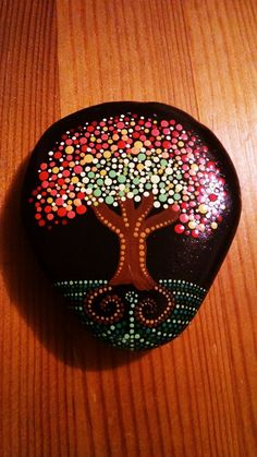 Hand Painted Beach stone from the shores of Lake Erie  by Miranda Pitrone  FALL TREE  Size: approx. 3inches x 2.5 inch diameter  Colors: White,