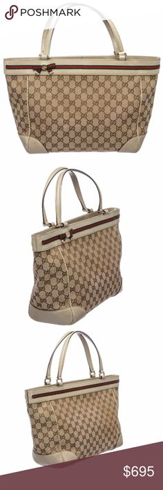 Gucci Brown Beige Leather Monogram Shoulder Bag Overall magnetic snap closure interior is fabric lined and contains two side slip pockets and one zipper pocket. Exterior contains Gucci Web embellishment strip and dual beige leather handles and trimming. Shop AUTHENTIC Gucci handbags at MARQUE SUPPLY COMPANY.   2283MSC Gucci Bags Shoulder Bags