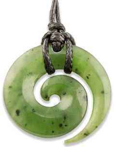 NZ Maori Greenstone Jade Koru Spiral New Life Necklace