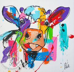 Vrolijk Schilderij Modern schilderij koe