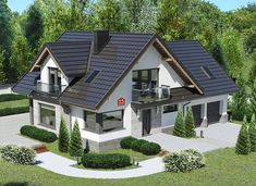 Dom przy Cyprysowej 15 K5 - zdjęcie 1 Cabin House Plans, House Layout Plans, House Layouts, Classic House Exterior, Dream House Exterior, Bungalow Style House, Harrison House, One Storey House, House Architecture Styles