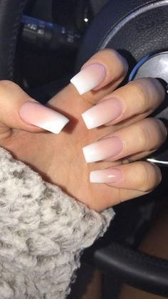 French Fade With Nude And White Ombre Acrylic Nails Coffin Nails - Ongles 03 French Acrylic Nails, Square Acrylic Nails, Acrylic Nail Designs, French Manicures, Acrylic Gel, Nail Designs Tumblr, Classy Nail Designs, Art Designs, Design Ideas