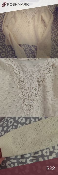 Tan comfy sweater Warm sweater for fall! Beautiful lace work on top! Never worn Forever 21 Sweaters