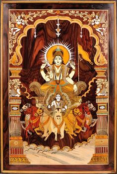 Bhagawan Surya on His Seven Horse Chariot (Framed), South Indian Rose Wood from Mysore Lord Shiva Painting, Ganesha Painting, Tanjore Painting, Shiva Art, Hindu Art, Seven Horses Painting, Señor Krishna, Krishna Avatar, Hare Krishna