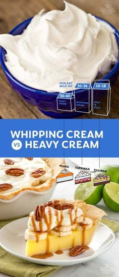 The difference between whipping cream and heavy cream and when to use each in baking Diy Whipped Cream, What Recipe, Homemade Sauce, Cream Recipes, Baking Tips, Dessert Recipes, Cake Recipes, Sweet Treats, Yummy Food