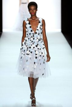 NYFW SS16: Badgley Mischka #dress #floral #petals #white