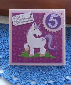 Glückwunschkarten - Karte zum Geburtstag mit Einhorn - ein Designerstück von Wollzottel bei DaWanda