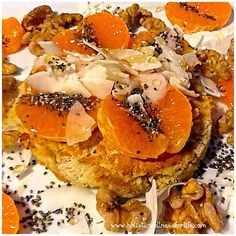Delicious gluten and dairy free pancake flavoured with sweet potato, flakes almond and cinnamon. Topped with mandarin, coconut flakes, chia seeds, raw honey and activated raw walnuts on the side. #pretty #pancake #colourful #jerf #paleo #pancake #glutenfr