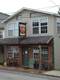 """Davis, WV - Hellbender Burritos is in an old house and has an upstairs """"sitting room"""" with games. The burritos are unique takes on Tex-Mex cuisine, including one with chicken, bleu cheese and guacamole. There are numerous vegetarian options, and beer on tap is brewed in nearby Thomas."""