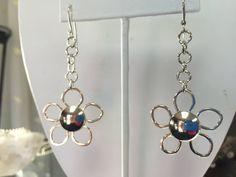 Sterling Silver Open Flower Dangle Earrings by TheSilverGardenHHI