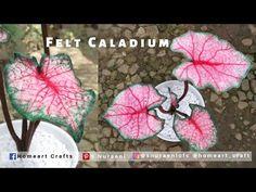 #DIY Felt Caladium - How to Make Caladium Plants Out of Felt - S Nuraeni - YouTube Felt Flower Tutorial, Felt Diy, Felt Flowers, Hello Everyone, Needle Felting, Home Art, Cactus, Youtube, Ideas
