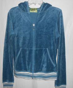 JUICY COUTURE Hoodie L/S Women Junior Sz L Large -Blue -Velour -Full Zip- #Fashion #Style #Deal