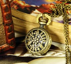 1pcs Small Size Filigree Leaves  Pocket Watch  B083 by ministore, $4.40