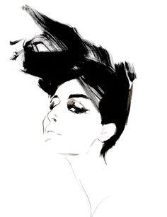 Fashion illustration - portrait of Erin O' Connor; fashion drawing // David Downton