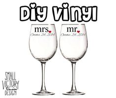 Personalized Title And Name Vinyl Decals  DIY Vinyl Stickers - Wine glass custom vinyl stickers
