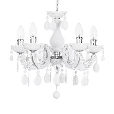 Marie Therese 5 Light Dual Mount Chandelier - White
