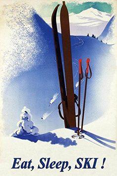 Wee Blue Coo Vintage Travel Winter Deutschland Germany Sport Ski Unframed Wall Art Print Poster Home Decor Premium Vintage Ski Posters, Retro Poster, Print Poster, Vintage Prints, Vintage Style, Ski Decor, Ski Mountain, Ski Racing, Ski Season