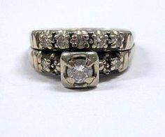 ~14k White Gold Tested  Diamond Ring Set~ this actually resembles my ring (it was my grandmothers)