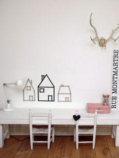 DIY: Casas de washi-tape en la pared. : x4duros.com