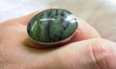 Green Serpentine stone set in sterling silver by Perunz on Etsy, $48.00