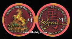 Las Vegas Casino Chip of the Day is a $1 Wynn Chinese New Year of the Horse that I have for $3 each here http://www.all-chips.com/ChipDetail.php?ChipID=17298