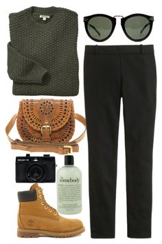 """Sin título #149"" by maartinavg ❤ liked on Polyvore featuring philosophy, Cleobella, Timberland, J.Crew, Barbour, Karen Walker and Holga"