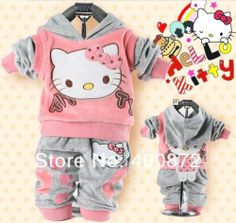 Hello Kitty baby clothing 2 piece suit sets tracksuits velvet Sport suit hoody