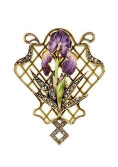 An Art Nouveau gold, rose-cut diamond and purple and white enamel iris brooch with plique-a-jour enamel latticework surmount. Antique x