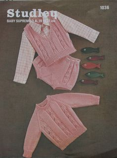 Studley - Baby Knitting Pattern Jumper Knickers and Slipover 19 to 21 inch chest. $4.00, via Etsy.