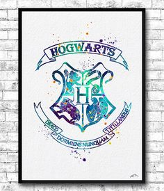 Hogwarts Crest 3 Watercolor Print Harry Potter Fine by ArtsPrint