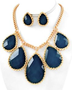 Gold Tone / Dark Blue Acrylic / Lead Compliant / Graduating / Tear Drop Charm Necklace & Post Earring Set