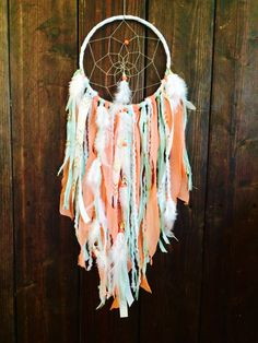 Large Dream Catcher, Dreamcatcher, Wall Hanging Dream Catcher, Bohemian Decor, Coral and Mint Dream Catcher, Woodland Nursery, Hippie Decor by BohemianBlush on Etsy https://www.etsy.com/listing/237192879/large-dream-catcher-dreamcatcher-wall