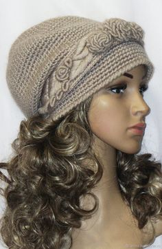 Diy Crafts - Buy Headband with embroidery Rococo. Crochet Newsboy Hat, Crochet Adult Hat, Crochet Summer Hats, Bonnet Crochet, Crochet Wool, Crochet Cap, Knitted Headband, Knitted Hats, Left Handed Crochet