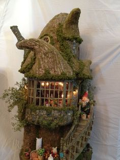 Fairy or Gnome House made out of paper clay. Like looking in the window.